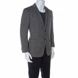 Z Zegna Brown Herringbone Patterned Stretch Wool Blazer L