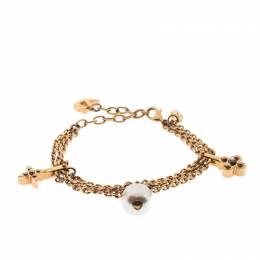 Louis Vuitton Damier Monogram Faux Pearl Gold Tone Chain Link Charm Bracelet