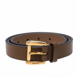 Gucci Brown Leather Buckle Belt 95CM 233868