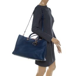 Dior Blue Leather Large Diorissimo Shopper Tote 232070
