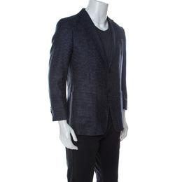 Z Zegna Blue Checkered Silk Wool Turati Light Blazer L