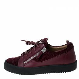 Giuseppe Zanotti Design Burgundy Textured Fabric and Leather Frankie Sneakers Size 42