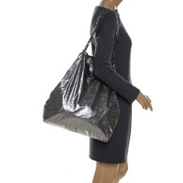 Lanvin Metallic Silver Leather Large Shopper Tote 230252