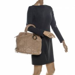 Dior Beige Cannage Quilted Lambskin Leather Granville Tote 230818