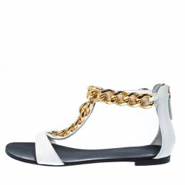 Giuseppe Zanotti Design White Leather Chain Link Flat Sandals Size 40
