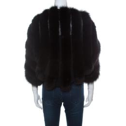 Saint Laurent Paris Edition Soir Black Fox Fur Bolero M 233754