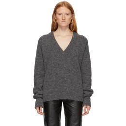 Tibi Grey Alpaca Airy V-Neck Sweater 192095F10000601GB
