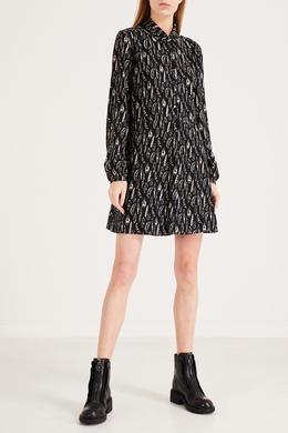 Черное платье с узором Saint Laurent 1531158464