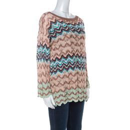 Missoni Beige Crochet Knit Flared Sleeve Top L 235342