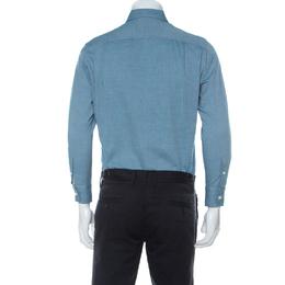 Loro Piana Teal Blue Woven Cotton Long Sleeve Button Down Collar Shirt S 233476