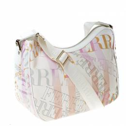 Gianfranco Ferre Multicolor Logo Print PVC and Canvas Shoulder Bag 231945