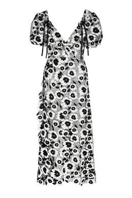Черно-белое платье с аппликациями Self-portrait 532158961