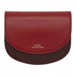 A.P.C. Burgundy and Red Compact Geneve Wallet 192252F04001701GB