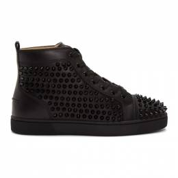 Christian Louboutin Black Louis Spikes High-Top Sneakers 192813M23601208GB