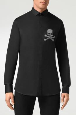 Черная рубашка с черепом из стразов Philipp Plein 1795159154