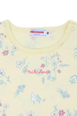 Желтая футболка с принтом Miki House 3018159774
