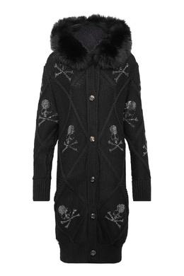 Пальто-кардиган черного цвета Philipp Plein 1795159338