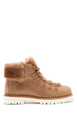 Золотистые ботинки с мехом и стразами Austin Lola Cruz 1698159598