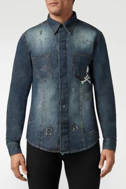 Джинсовая рубашка с потертостями Philipp Plein 1795159779