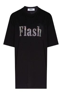 Черная хлопковая футболка с блестящей надписью MSGM 296158713