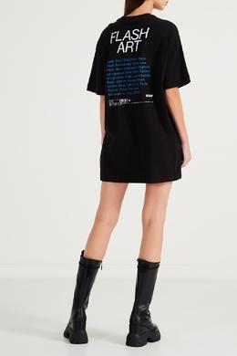 Черное трикотажное платье с принтом MSGM 296158699