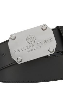 Черный ремень с серебристой пряжкой Philipp Plein 1795159614