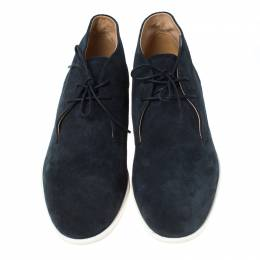 Tod's Blue Suede Lace Up Oxford Sneakers Size 44 236248