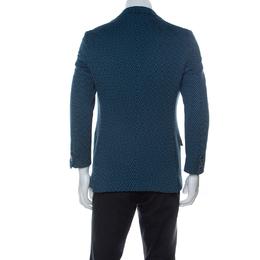 Etro Blue Cube Patterned Cotton Jacquard Nuovo Jersey Blazer M 233723