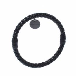 Bottega Veneta Black Intrecciato Woven Leather Bangle Bracelet 236200