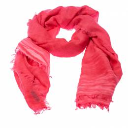 Burberry Bright Coral Red Cashmere Blend Frayed End Shawl 235881