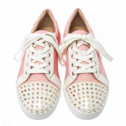 Christian Louboutin Pink/White Mesh And Patent Leather Gondolita Spike Lace Up Sneakers Size 41 235976