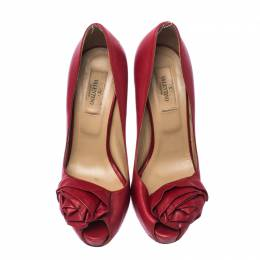 Valentino Red Leather Rose Accented Peep Toe Pumps Size 36 232260