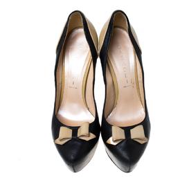 Casadei Black/Beige Leather Bow Platform Pumps Size 36.5 232045