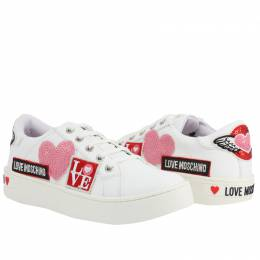 Love Moschino White Faux Leather Lace Up Sneakers Size 40