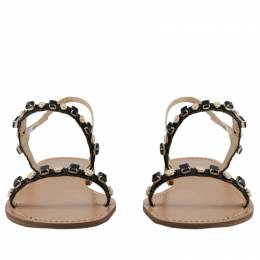 Versace Jeans Brown/Black Studs Faux Leather Flat Sandals Size 39 235614