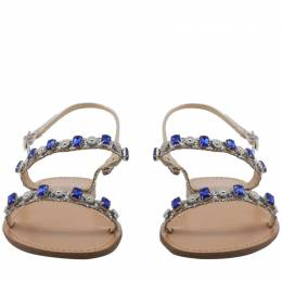 Versace Jeans Brown/Blue Studs Faux Leather Flat Sandals Size 41 235610
