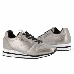 Versace Jeans Metallic Grey Faux Leather Lace Up Sneakers Size 37 235600