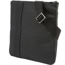 Emporio Armani Black Faux Leather Messenger Bag 236582
