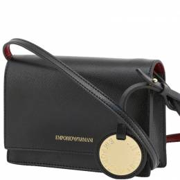 Emporio Armani Black Faux Leather Crossbody Bag 236599