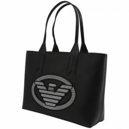 Emporio Armani Black Faux Leather Shopping Tote 236597