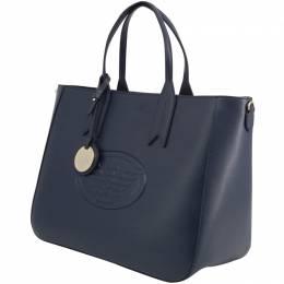 Emporio Armani Blue Faux Leather Shopping Tote 236596