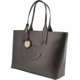 Emporio Armani Metallic Brown Faux Leather Shopping Tote 236593