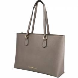 Emporio Armani Metallic Brown Faux Leather Shopping Tote 236590