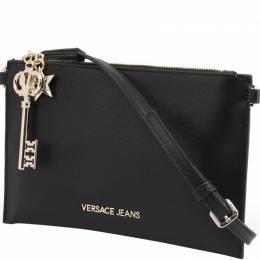 Versace Jeans Black Faux Leather Key Charm Clutch Bag