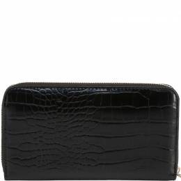 Versace Jeans Black Embossed Faux Leather Zip Around Wallet 236452