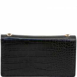 Versace Jeans Black Embossed Faux Leather WOC Clutch Bag 236453