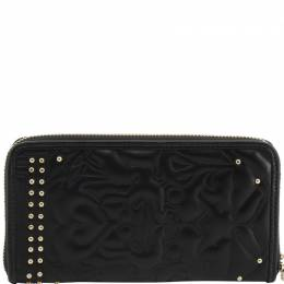 Versace Jeans Black Quilted Faux Leather Studded Zip Around Wallet 236451