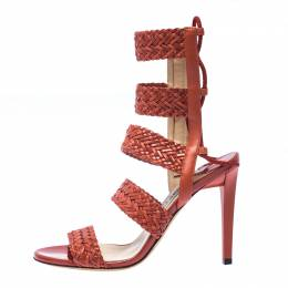 Jimmy Choo Brown Leather Ankle Strap Sandals Size 37.5 235995