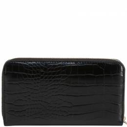 Versace Jeans Black Embossed Faux Leather Zip Around Wallet 236603