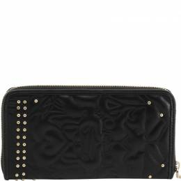 Versace Jeans Black Quilted Faux Leather Studded Zip Around Wallet 236602